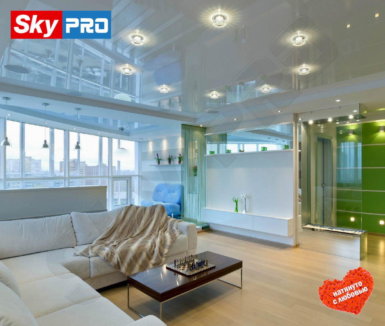 Белый глянцевый натяжной потолок Премиум цена за метр
