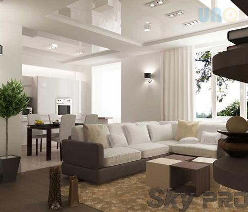 Глянцевый потолок в гостиной - качественная установка